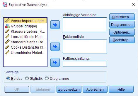 Einfaktorielle ANCOVA: Normalverteilung über die explorative Datenanalyse überprüfen, Dialogfenster