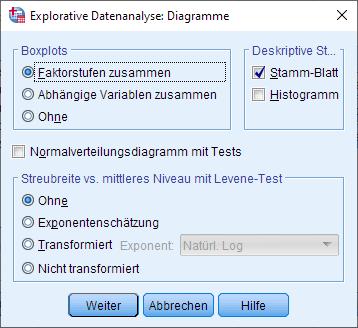 Einfaktorielle ANCOVA: Normalverteilung über die explorative Datenanalyse überprüfen, Dialogfenster: Optionen (ausgefüllt)