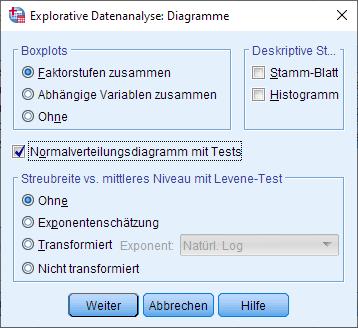 Einfaktorielle ANCOVA: Normalverteilung über die explorative Datenanalyse überprüfen, Dialogfenster: Optionen