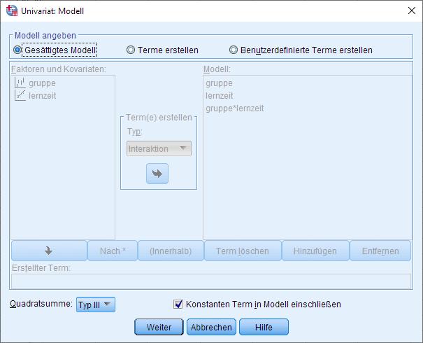 SPSS einfaktorielle ANCOVA, univariates allgemeines lineares Modell, Modelloptionen, gesättigtes Modell