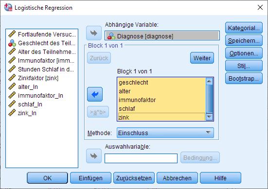 Binomiale logistische Regression: Dialogfenster (ausgefüllt)