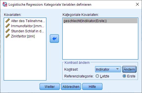 Binomiale logistische Regression: Kategroial (ausgefüllt)