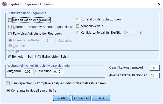 Binomiale logistische Regression: Optionen