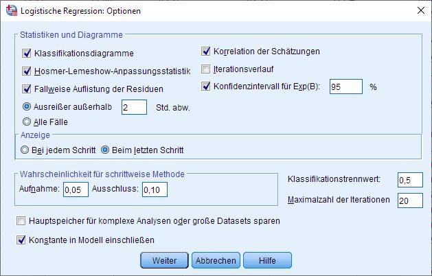 Binomiale logistische Regression: Optionen (ausgefüllt)