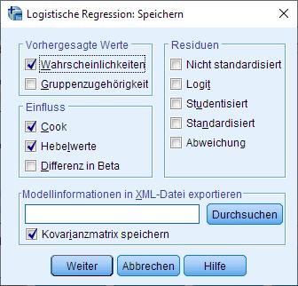 Binomiale logistische Regression: Speichern (ausgefüllt)