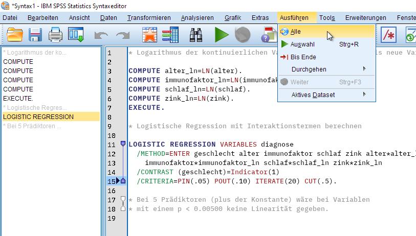 Binomiale Logistische Regression: Syntax ausführen