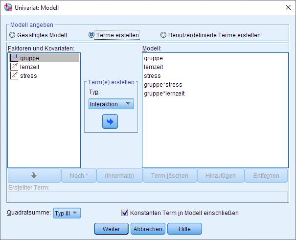 SPSS einfaktorielle ANCOVA, univariates allgemeines lineares Modell, Modelloptionen mit zwei Kovariaten (ausgefüllt)