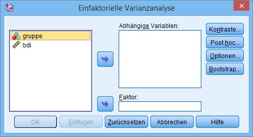 einfaktorielle ANOVA Dialogfenster
