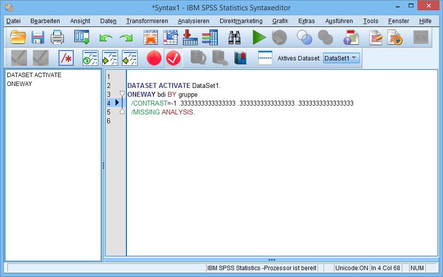 einfaktorielle ANOVA: Kontraste (Syntax-Editor #1)