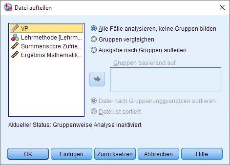 Einfaktorielle MANOVA: Datei aufteilen, Dialogfenster
