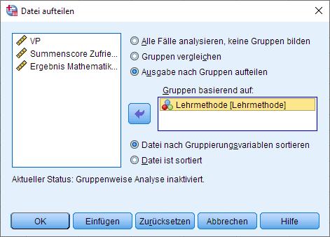 Einfaktorielle MANOVA: Datei aufteilen, Dialogfenster (ausgefüllt)