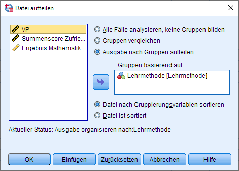 Einfaktorielle MANOVA: Datei aufteilen entfernen, Dialogfenster