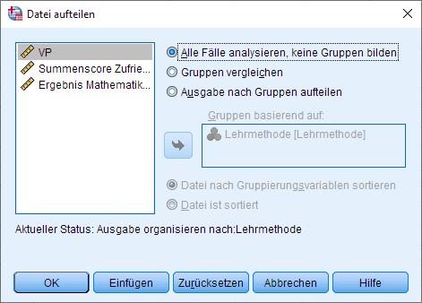 Einfaktorielle MANOVA: Datei aufteilen entfernen, Dialogfenster ausgefüllt