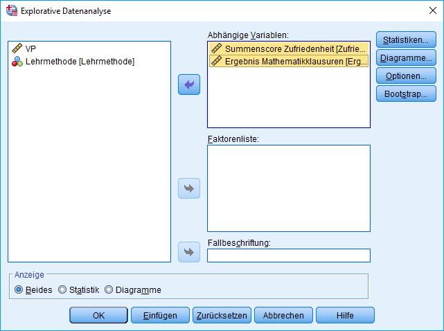 Einfaktorielle MANOVA: Explorative Datenanalyse, Dialog (AVs ausgefüllt)