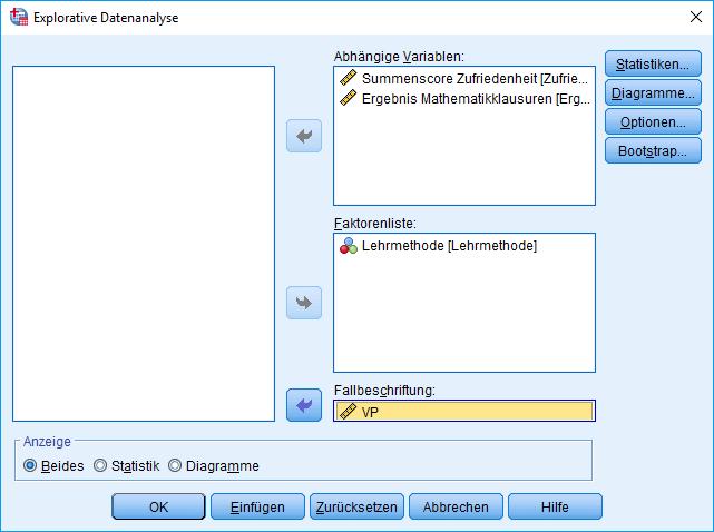 Einfaktorielle MANOVA: Explorative Datenanalyse, Dialog (Fallbeschriftung ausgefüllt)