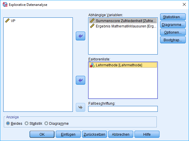 Einfaktorielle MANOVA: Explorative Datenanalyse, Dialog (UV ausgefüllt)