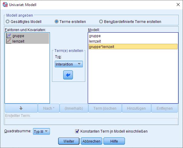 SPSS einfaktorielle ANCOVA, univariates allgemeines lineares Modell, Modelloptionen (ausgefüllt)