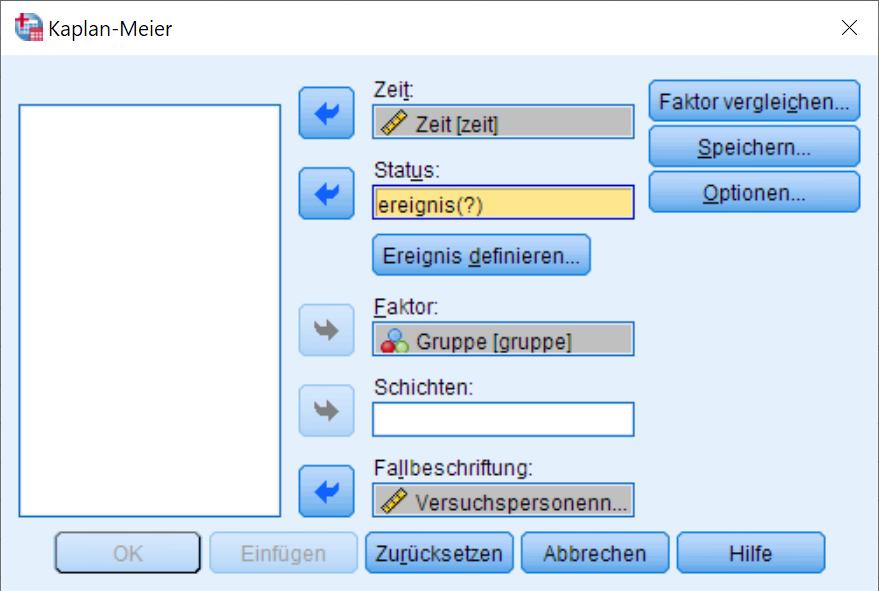 Kaplan-Meier: Dialogfenster (ausgefüllt)