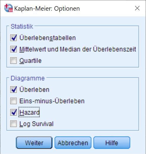 Kaplan-Meier: Optionen (ausgefüllt)