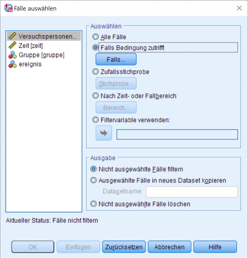 Kaplan-Meier: Auswahlbedingung Dialogfenster