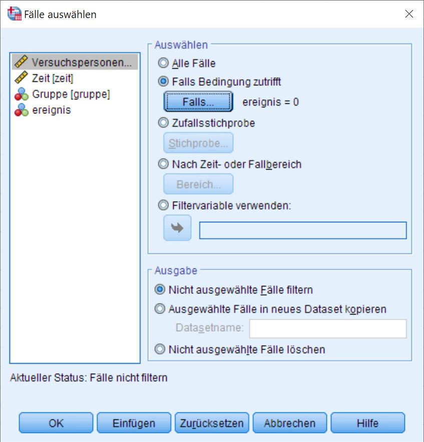 Kaplan-Meier: Auswahlbedingung Dialogfenster (ausgefüllt)