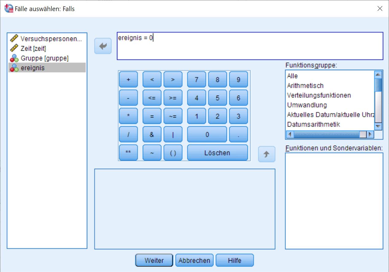 Kaplan-Meier: Auswahlbedingung Dialogfenster (Falls Bedingung, ausgefüllt)