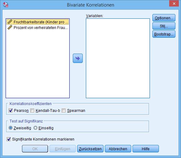 Bivariate Korrelation Dialogfenster