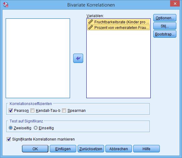 Bivariate Korrelation Dialogfenster (ausgefüllt)