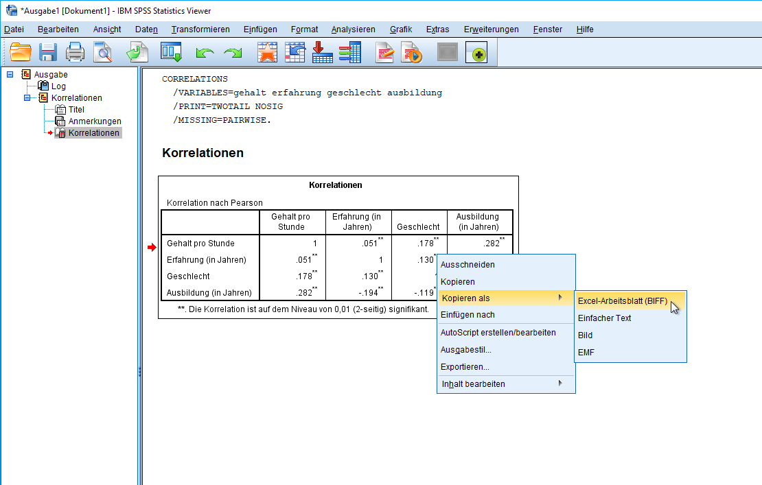 Korrelation: Kopieren nach Excel