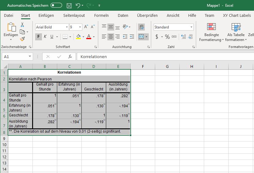 Korrelation: Einfügen nach Excel