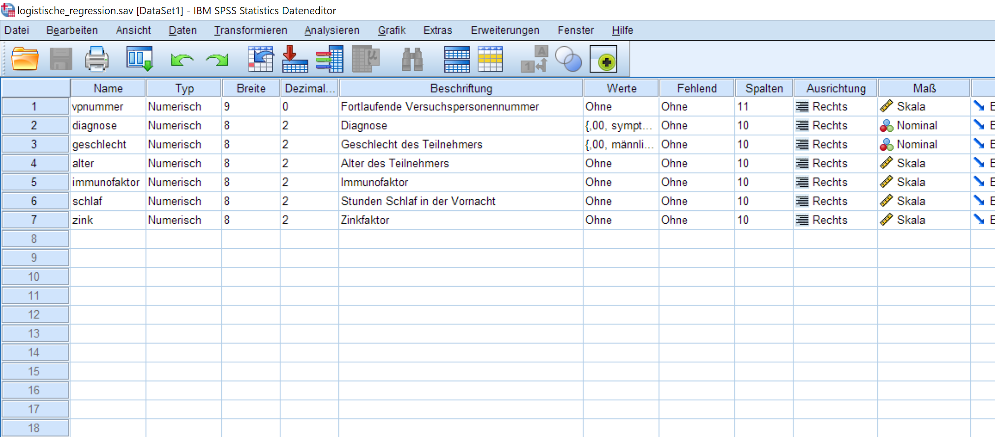 Binomiale Logistische Regression: SPSS Datafile