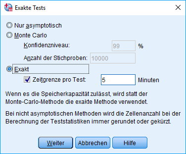 "Mann-Whitney-U-Test: SPSS ""Exakt"" Dialogfenster, komplett ausgefüllt"