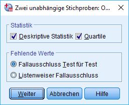Mann-Whitney-U-Test: Voraussetzung überprüfen: 2 unabhängige Stichproben nicht-parametrisch analysieren, Optionen (ausgefüllt)