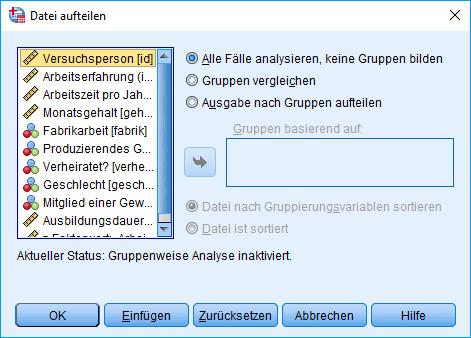 Mann-Whitney-U-Test: Voraussetzung überprüfen: Aufgeteilte Datei Dialogfenster