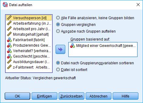 Mann-Whitney-U-Test: Voraussetzung überprüfen: Aufgeteilte Datei Dialogfenster (Aufteilung nach Gewerkschaft)