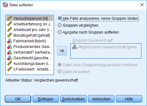 Mann-Whitney-U-Test: Voraussetzung überprüfen: Aufgeteilte Datei Dialogfenster (Aufteilung entfernt)