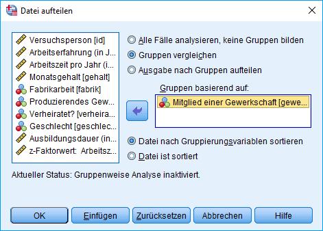 Mann-Whitney-U-Test: Voraussetzung überprüfen: Aufgeteilte Datei Dialogfenster (ausgefüllt)