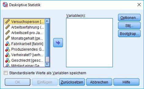 Mann-Whitney-U-Test: Voraussetzung überprüfen: Deskriptive Statistik Dialogfenster