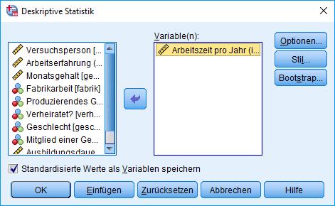 Mann-Whitney-U-Test: Voraussetzung überprüfen: Deskriptive Statistik Dialogfenster (ausgefüllt)
