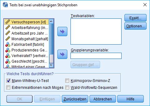Mann-Whitney-U-Test: Voraussetzung überprüfen: 2 unabhängige Stichproben nicht-parametrisch analysieren