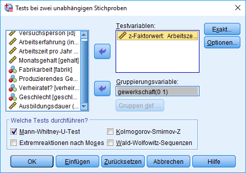 Mann-Whitney-U-Test: Voraussetzung überprüfen: 2 unabhängige Stichproben nicht-parametrisch analysieren (ausgefüllt)