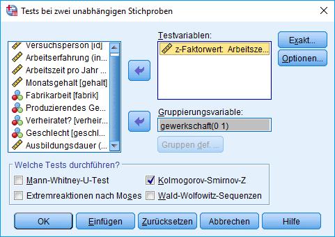 Mann-Whitney-U-Test: Voraussetzung überprüfen: Kolmogorov-Smirnov-Test (ausgefüllt)