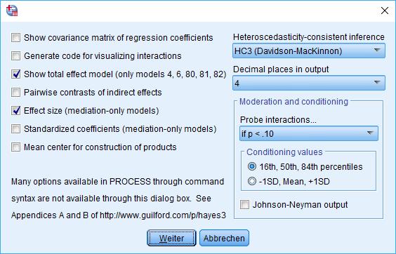 Mediation: PROCESS Makro Fenster, Options (ausgefüllt)