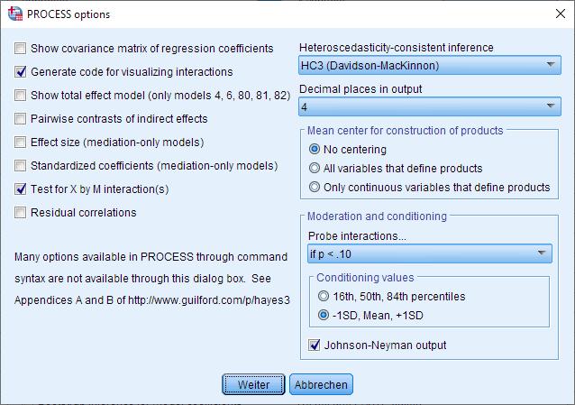 Moderation: PROCESS Makro Fenster, Options (ausgefüllt)