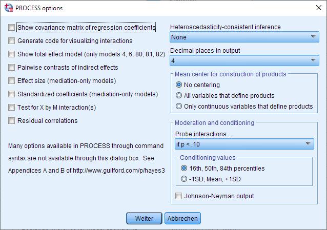 Moderation: PROCESS Makro Fenster (komplett ausgefüllt, mit Bootstrapping)