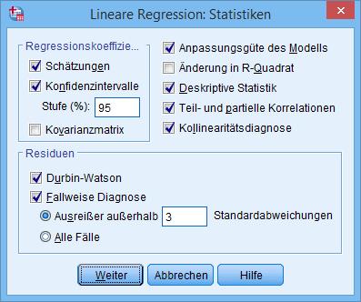 Multiple Regression: Statistiken (ausgefüllt)
