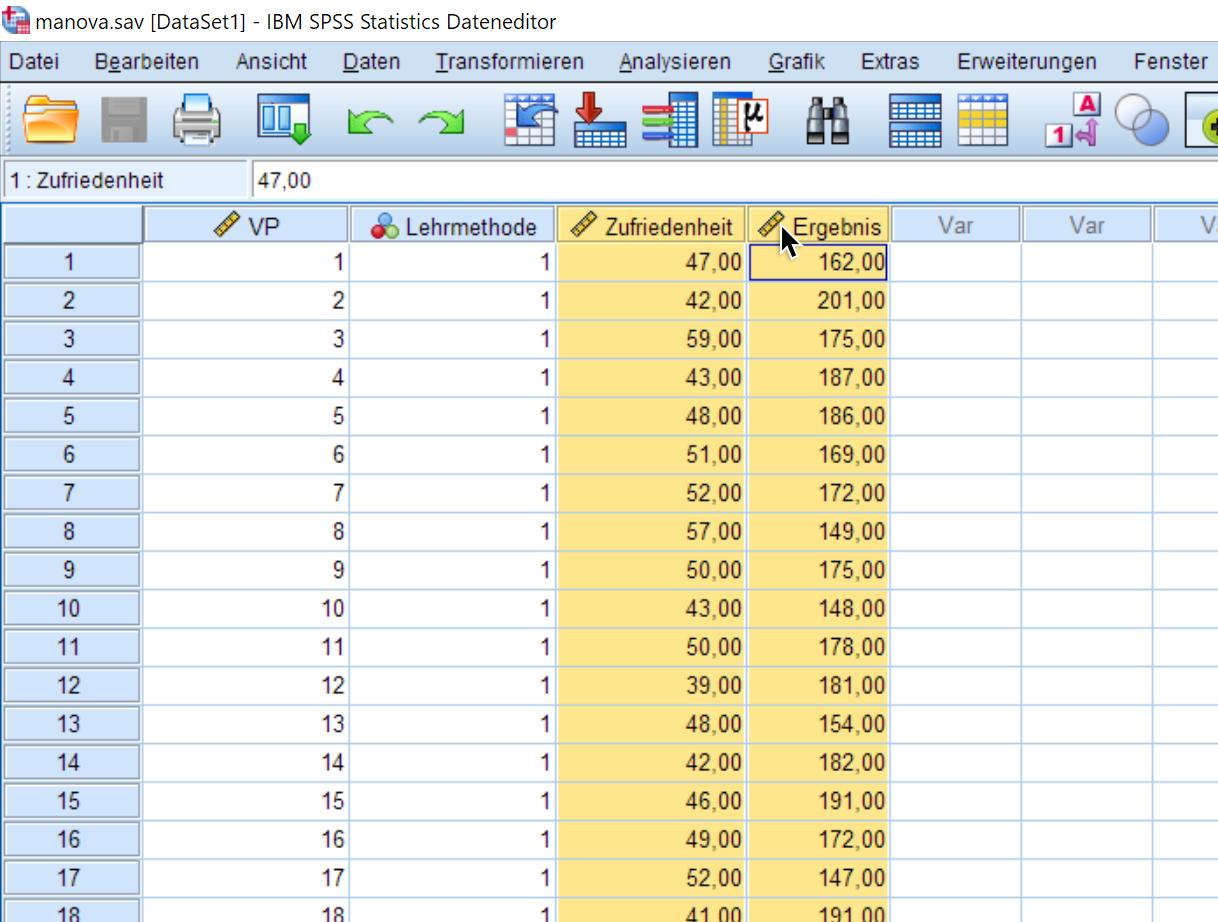 Multivariate Normalverteilung online prüfen: Daten auswählen