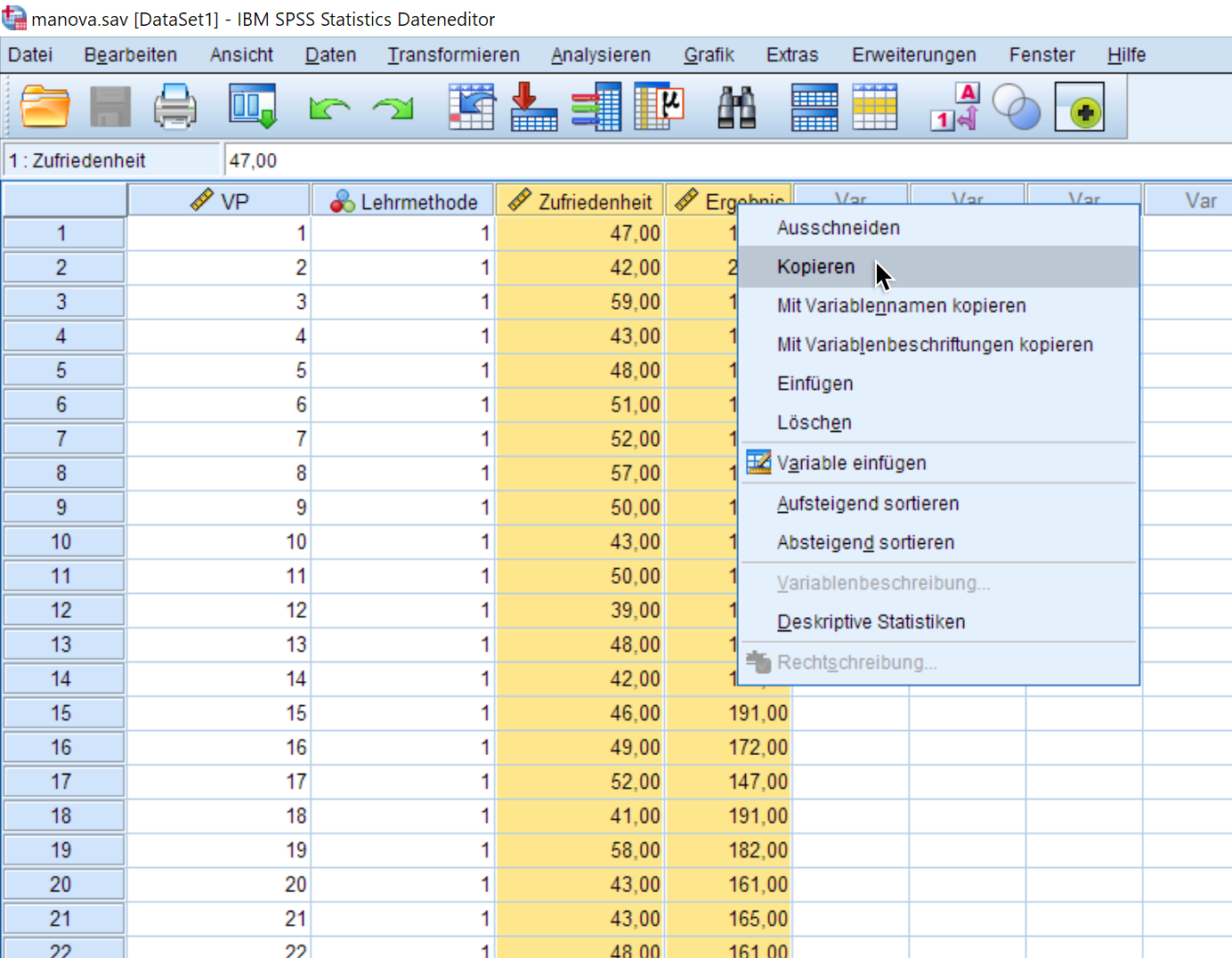 Multivariate Normalverteilung online prüfen: Daten kopieren