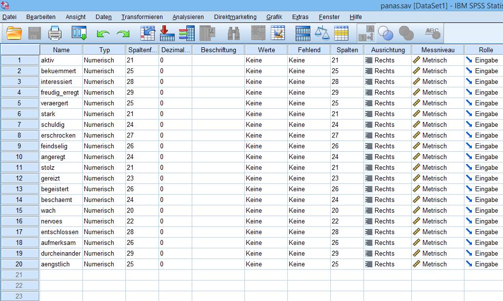Hauptkomponentenanalyse: Datenfile