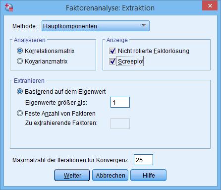 Hauptkomponentenanalyse: Extraktion (ausgefüllt)